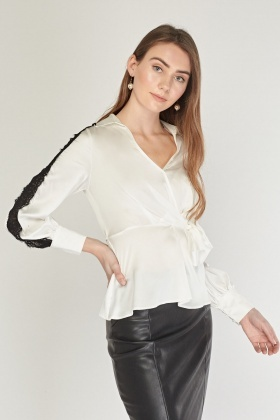Lace Insert Sateen Blouse