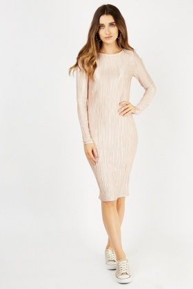 Light Pink Midi Plisse Dress