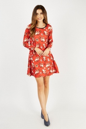 Santa Claus Print Tunic Dress