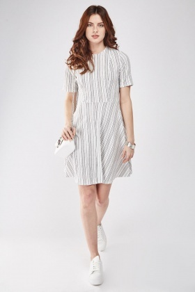 3/4 Sleeve Striped Swing Dress