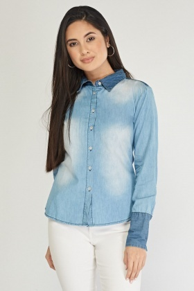 Faded Contrast Light Denim Shirt