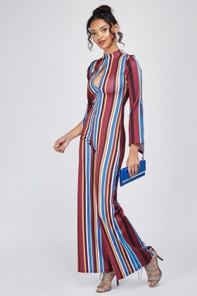 Keyhole Striped Flared Jumpsuit