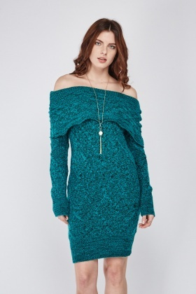 Knitted Off Shoulder Speckled Dress
