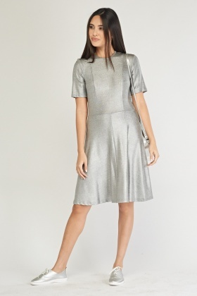 Metallic Midi Swing Dress