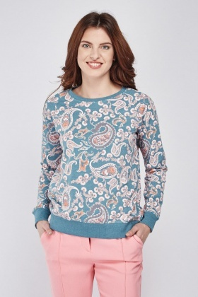Mixed Print Long Sleeve Sweatshirt