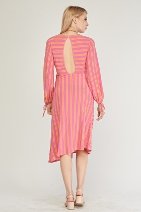 Candy Stripe Keyhole Back Dress