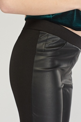 Contrasted Faux Leather Biker Leggings