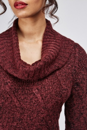 Cowl Neck Cable Knit Jumper