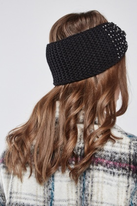 Encrusted Knitted Bow Headband