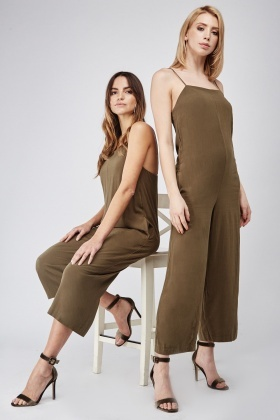 Strappy Wide Leg Culotte Jumpsuit