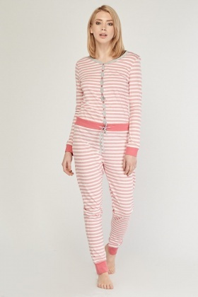 Striped Poppers Front Onesie