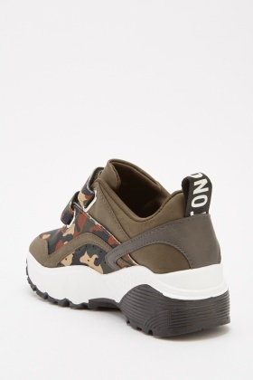Contrast Camouflage Low Top Trainers
