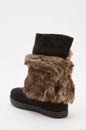 Embroidered Suedette Winter Boots
