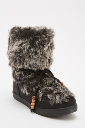 Faux Fur Lace Up Boots
