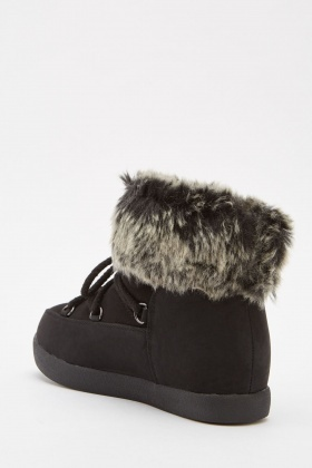 Lace Up Suedette Faux Fur Boots