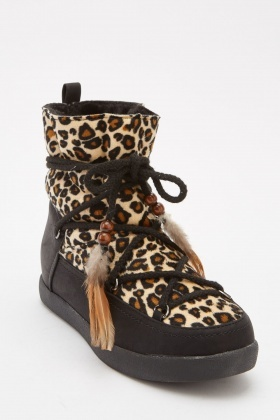 Leopard Print Lace Up Boots