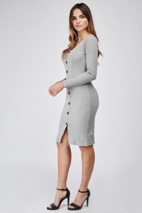 Button Front Mini Ribbed Dress