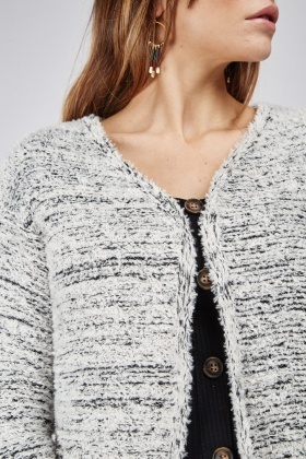 Casual Long Sleeve Eyelash Knit Cardigan