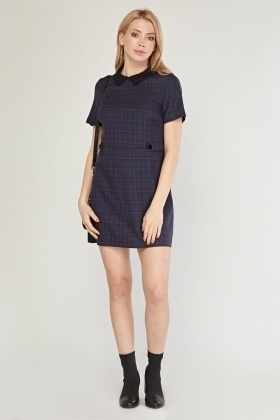 Collared Plaid Shift Dress
