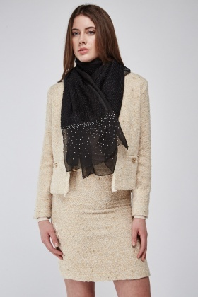 Contrasted Knit Scarf