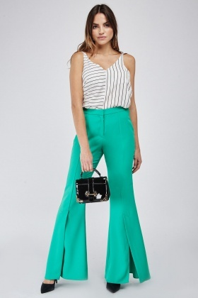Double Slit Front Flared Trousers