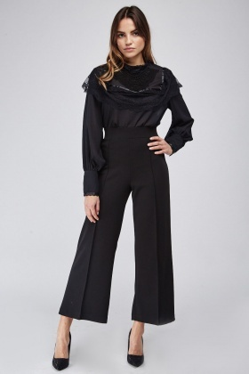 High Waist Ankle Grazer Trousers