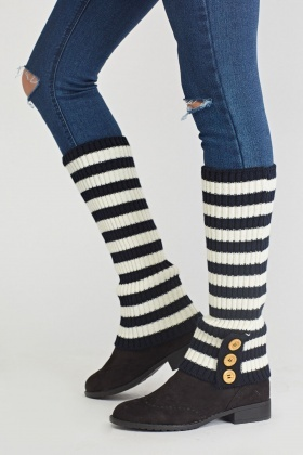 Pack Of 3 Striped Leg Warmers