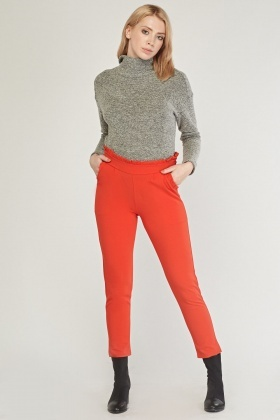 Ruffle Detail Fitted Trousers