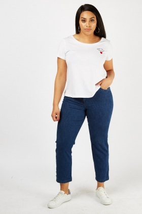 Straight Fit Crop Jeans