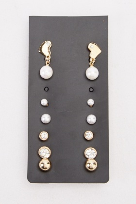 Embellished Faux Pearl Earring Set