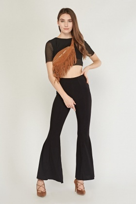 Flared Leg Basic Trousers