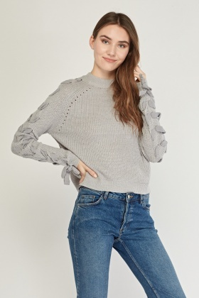 Lace Up Sleeve Knitted Jumper