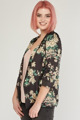 Lapel Front Point Chiffon Blazer