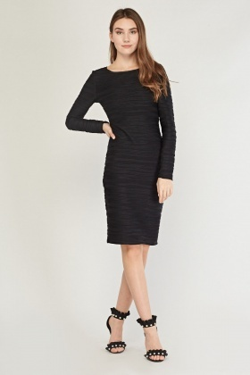 Pleated Midi Bodycon Dress