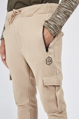 Ribbed Hem Zipper Jogger Pants