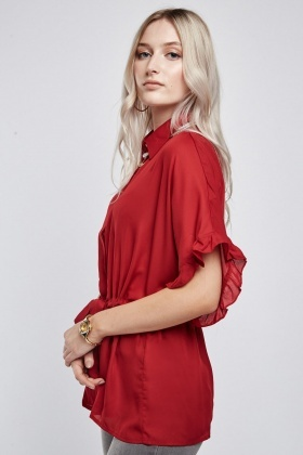 Ruffle Batwing Sleeve Sheer Blouse