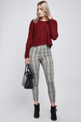 Skinny Fit Plaid Trousers