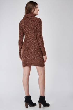 Slouchy Rib Neck Jumper Dress