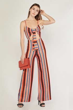 Tie Up Multi Striped Jumpsuit