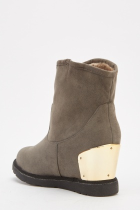 Brushed Suedette Wedged Ankle Boots