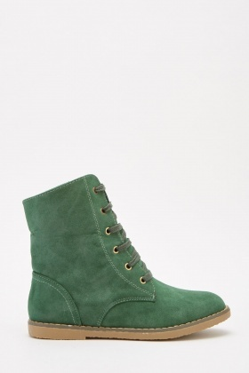 Dark Green Suedette Lace Up Boots