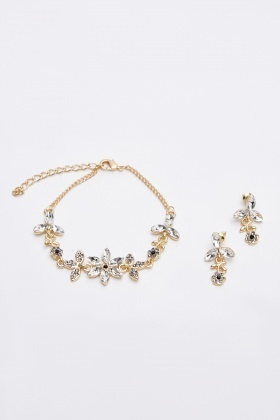 Embellished Bracelet And Earrings Set