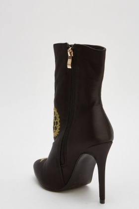 Embroidered Sateen High Heel Boots