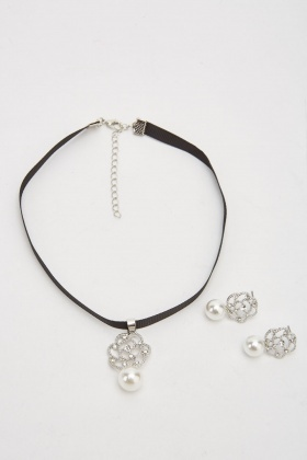 Encrusted Choker Necklace And Earrings Set