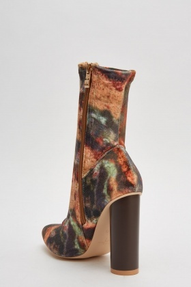 Multi Coloured Velveteen Heeled Boots
