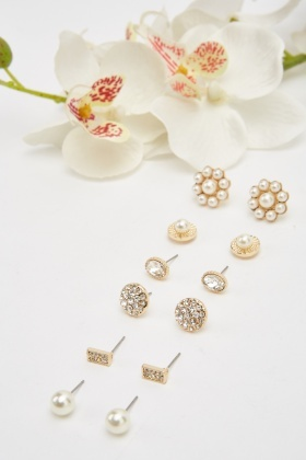 Pack Of 6 Stud Earrings Set