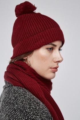 Rib Knit Beanie Hat And Scarf Set