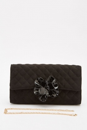 Suedette Quilted Front Detail Clutch Bag