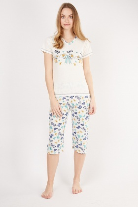 Butterfly Mixed Print Pyjama Set