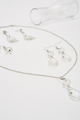 Clear Gem Necklace And Earrings Set